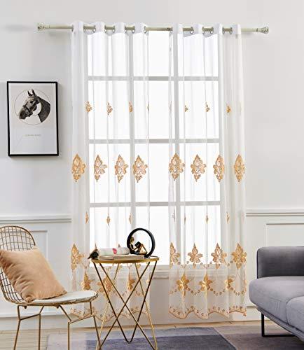 M&W DasDesign Gardinenschal weiß transparent Stoff Ösenschal Wohnzimmer Barock Blumen Muster Stickerei Gold Stores für Sonnen- und Sichtschutz 140 x 245 cm gelb (1 Stück)