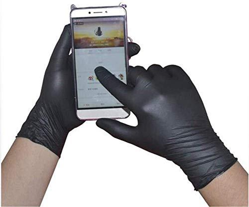 Guantes 100 u/Caja Extra Fuerte y Grueso sin Polvo de nitrilo Desechables, Guantes de Trabajo de Seguridad (Color : Black, Size : L)