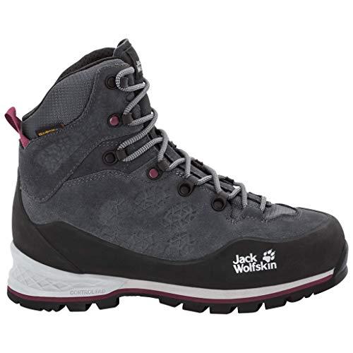 Jack Wolfskin Damskie buty trekkingowe Wilderness Xt Texapore Mid W wodoszczelne, szary - szary Ebony Burgundy 6239-37 eu