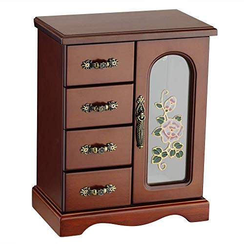 RR ROUND RICH DESIGN Jewelry Box - Made of Solid Wood with 4 Drawers Organizer and Built-in Necklace Carousel and Large Mirror Brown