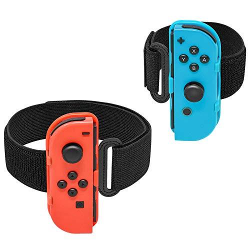 MENEEA Bracelet de sport pour Nintendo Switch Ring Fit Adventure Just Dance 2021 2020 2019 Kit d'accessoires de jeu, sangle de jambe élastique réglable et bracelets pour contrôleur JoyCon Switch