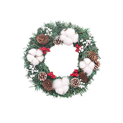 TERMALY Christmas Wreath For Front Door And Windows - 12' Small Artificial Pine Needle Christmas Wreath With Cotton,Pine Cone,Bowknot And Berry Decoration,for Indoor & Outdoor Display