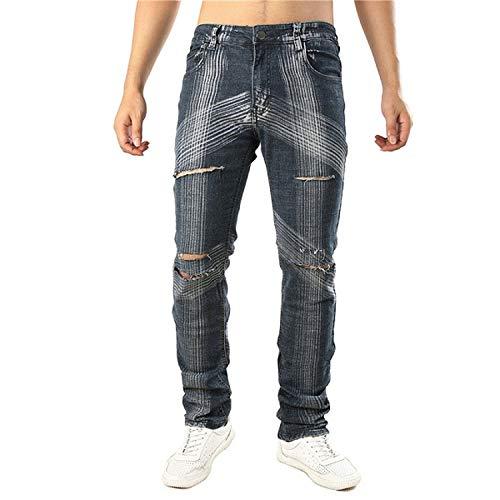 ZZmeet Jeans Gaten Ripped Retro Slim Skinny Vintage Patchwork Mannen Denim Broek Zwart Goud Broek