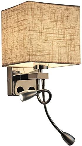 Lámpara De Pared Cuadrada Con Interruptor, Pantalla De Tela De Lino, Lámpara De Noche, Dormitorio, Sala De Estar, Luz De Pared Con Foco De Lectura LED