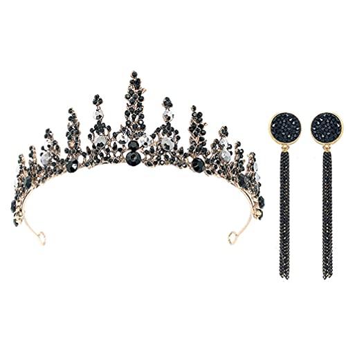 Lurrose 3Pcs Barroco Rainha Da Coroa Da Noiva Preto Strass Com Queda de Orelha de Prata Do Vintage Da Coroa Da Princesa Coroa Tiara de Noiva para O Casamento