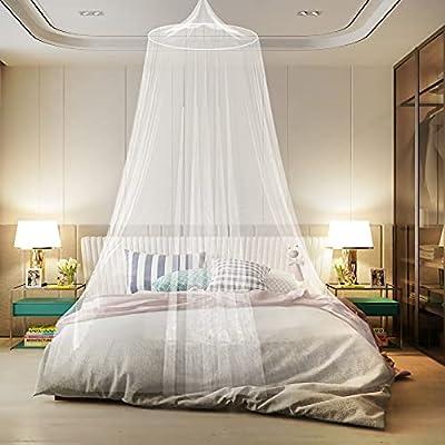 [Tamaño apropiado] Diámetro superior: 60cm; Circunferencia del péndulo inferior: 1200cm; altura: 250cm, adecuado para la mayoría de las camas doble. Cuando esté en uso, es mejor presionar el borde de la mosquitera debajo del colchón para evitar que l...