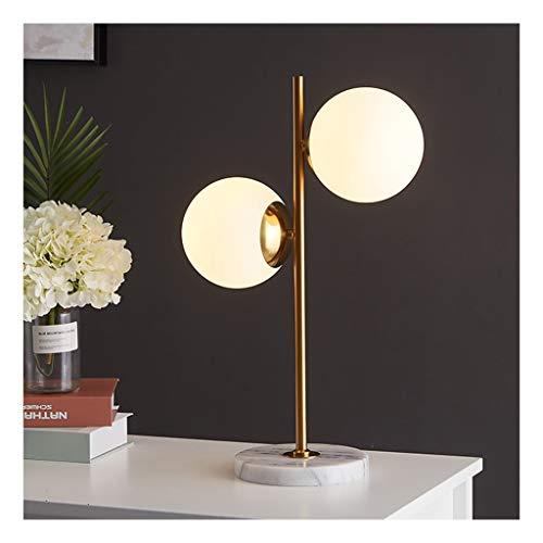 -lampara mesa Lámpara de mesa moderna, Mármol Hierro Doble Bola de cristal luz del escritorio, E14 × 2 Interruptor de botón, la sala de estar decoración del dormitorio de noche Estudio Lámpara de mesa