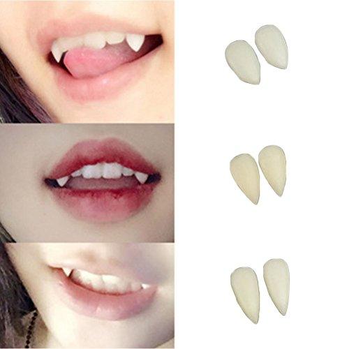 Vorcool 3 Paar Vampirzähne, geeignet als Horror-Zubehör für Halloween, künstliche Zähne, Party-Zubehör, Kostüm (2 Stück à 13 mm + 2 Stück à 15 mm + 2 Stück à 17 mm)