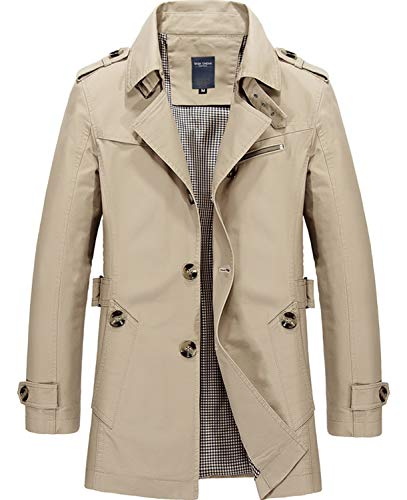 WHATLEES Herren Winter Mäntel Trägershirt Trenchcoat, Aa058-khaki, L