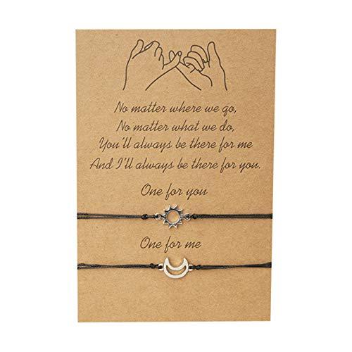 SJHFG - 2 pulseras elegantes con colgante de sol de luna trenzado, accesorio para decoración de pareja de pulseras regalo para novio novia