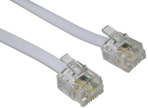 World of Data - Cavo ADSL Alta qualità, contatti placcati Oro, Banda Larga, da Router o Modem a Presa telefonica RJ11 o microfiltro, Lunghezza: 10 m, Colore: Bianco
