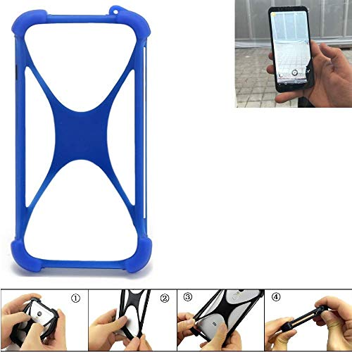 K-S-Trade Handyhülle Für Energizer Powermax P600S Silikon Schutz Hülle Cover Hülle Bumper Silikoncase TPU Softcase Schutzhülle Smartphone Stoßschutz, Blau (1x)