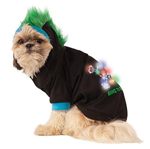 Rubie's LED Light-Up Halloween Hoodie Dog Costume, Black / Blue / Green