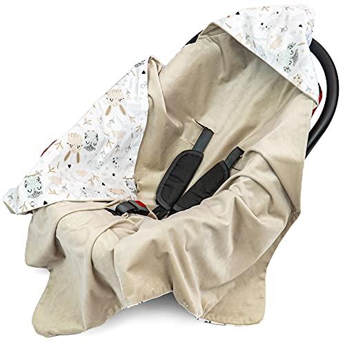 Einschlagdecke Babyschale 90x90 cm Velvet - universal Frühling Sommer Baby Babydecke z. B. für Maxi Cosi Buggy Autositz Baumwolle Öko-Tex(Beige Velvet mit Tiere)