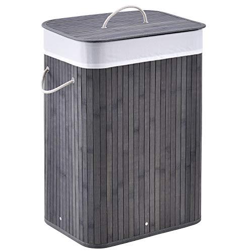 Juskys Bambus Wäschekorb Curly 72 Liter Grau – Wäschesammler mit Deckel, Griff & 1 Fach – Stoff Wäschesack herausnehmbar & waschbar Wäschetonne