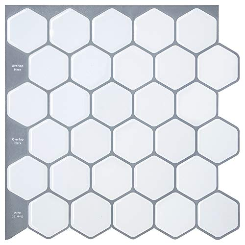 Adhesivo blanco para azulejos de cocina, mármol, hexagonal, para azulejos de cocina y mármol, adhesivo, diseño de polígono, color blanco