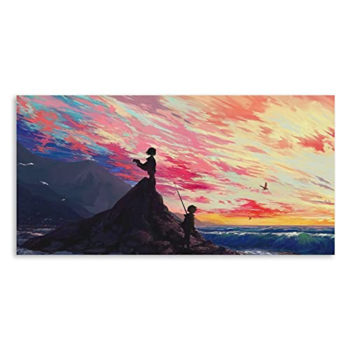 Xuanmoyuan Rock, Children, Art, Sea, Shore Poster Decorative Painting Canvas Wall Art Living Room Posters Bedroom Painting 20x40inch(50x100cm)