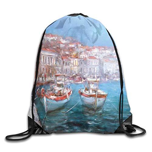 Drawstring Gym Bag Backpack,Calming Scene Of Fishing Boats Floating On The Seashore Pastel Oil Painting Effect,Rucksack for School Sports Travel Women Children Birthday Present