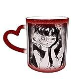 Taza de cerámica Junji Ito Taza de color sensible al calor que cambia de color Taza que cambia en el cielo Magia Arte divertido Tazas de café Taza de cerámica Regalos personalizados para amantes de l