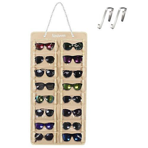 SIMBOOM Organizador de Gafas de Sol Montado En La Pared, 16 Ranura A Prueba de Polvo Gafas de Sol Organizador de Fieltro Bolsa Colgante Gafas de Sol con Gancho y Cuerda, A Prueba de Polvo-Beige