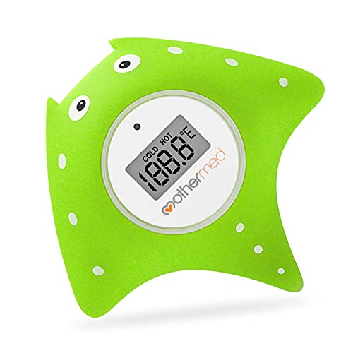 MotherMed Baby Bath Thermometer and Floating Bath Toy Bathtub Safety Temperature Thermometer Green Fish Only for Fahrenheit