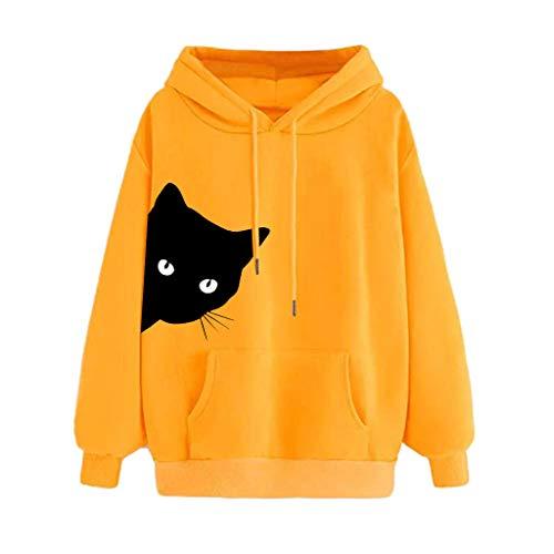 Sweat Femme avec Capuche Chat Imprimer Sweatshirt à Capuche Grande Taille Manche Longue Hoodie Pullover Tops Blouse Femme Sweat à Capuche (L, Jaune)