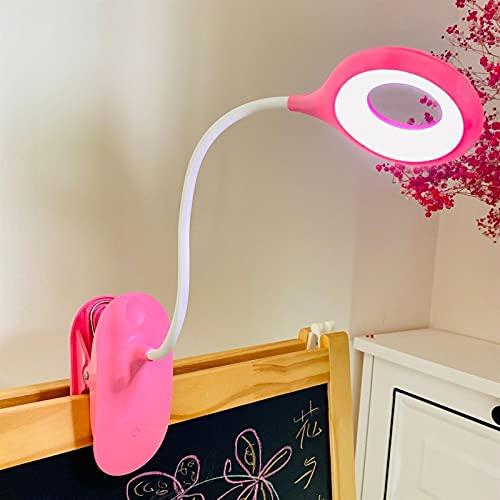 Luz Lectura Lámpara de Escritorio LED Recargable 3W USB Lámpara LED con Pinza Clip en Luz de Lectura Anillo de Luz LED Luz de Cama Flexible de Cuello de Cisne de 360 ° Oficina (Color : Pink)