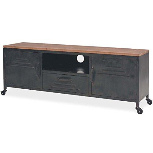 Mesa para TV con 4 Ruedas Mueble TV Salón Mesa Televisión Mueble Comedor de Estilo Industrial y Antiguo Decorativa para Dormitorio Estar Acero Galvanizado Negro 120x30x43cm