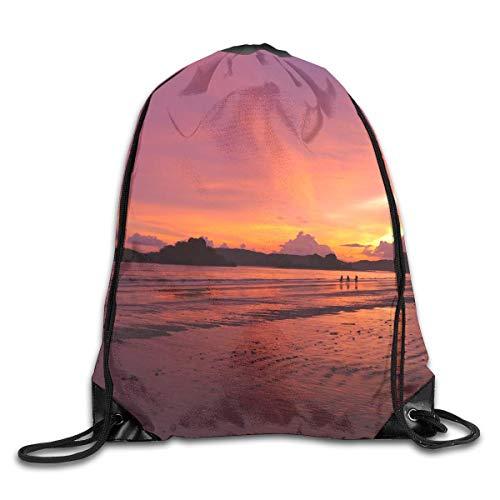 Etryrt Prämie Turnbeutel/Sportbeutel, Beach Landscape Sea Coast Water Sand Ocean Horizon Cloud Sky Sunset Morning Drawstring Backpack Bag Shoulder Bags Gym Bag for Adult