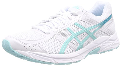 Asics Gel-Contend 4, Zapatillas de Running Mujer, Blanco (Whitearuba Bluesilver 0188), 44.5 EU