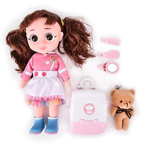 Juguete de muñeca de voz eléctrica, con maleta de oso de peluche, juguete de muñeca de voz, regalo de cumpleaños de Navidad de alta simulación para niños para niñas