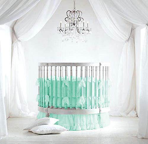Bedding Empire 42″ Dia Round Ruffle Crib Bedding Set Egyptian Cotton 500 TC 5-Piece Set Fitted Sheet, Ruffle Skirt,Comforter,Bumper,Pillowcase Choose Color & Size