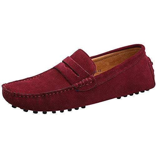 Yaer Herren Driving Loafers Flat, Premium Slip-on Wildleder Mokassin Bootsschuhe(Rot,43 CN)