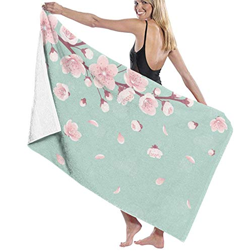 Cherry Blossoms Bath Towels (52×32in) Extra Large for Women Superfine Fiber Highly Absorbent and Quick Dry - Super Soft