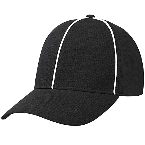 FitsT4 Referee Hat Black with White Stripes Official Cap – Great for Football Refs, Umpires, Judges, Uniforms