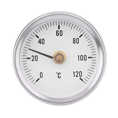 Bewinner 63 mm 0-120 ° Superficie del Tubo del Termómetro Bimetálico IP55 Termómetro Hermético a Prueba de Polvo con Resorte para Aceite, Centrales Eléctricas, Embarcaciones, etc.