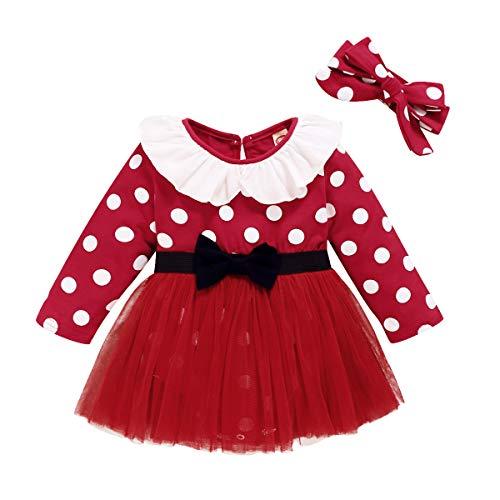 Vestido de lunares para recin nacidos, para fiesta de cumpleaos, Navidad, disfraz de princesa, con diadema de lazo