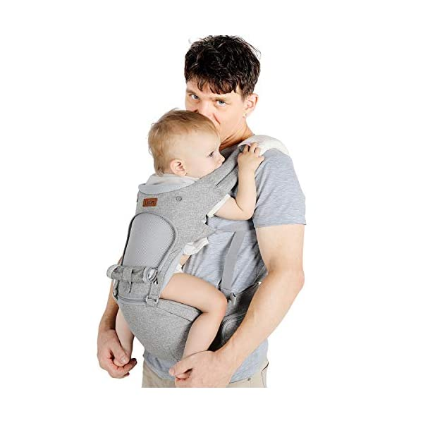 Lictin Baby Carrier 6-in-1 Ergonomic Backpack Carry with Hip Seat for Infants from 3.5KG to 20KG with 2 Cotton Bibs, 1 Pacifier Chain, with CE ASTM Certificated Tummy Carrier for Hiking, Shopping