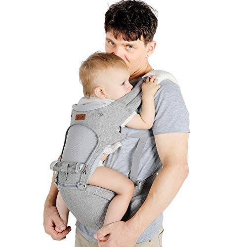 Lictin Baby Carrier 6in1 Ergonomic Backpack Carry with Hip Seat for Infants from 35KG to 20KG with 2 Cotton Bibs 1 Pacifier Chain with CE ASTM Certificated Tummy Carrier for Hiking Shopping