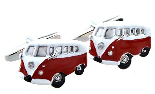 Unbekannt Manschettenknöpfe Bus rot Weiss silbern schwarz + Silberbox