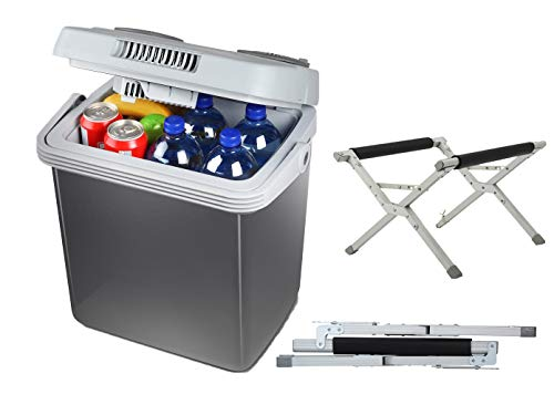 Kleine 20 liter thermo-elektrische koelbox ook voor verwarmen 12/230 volt – met inklapbare standaard.