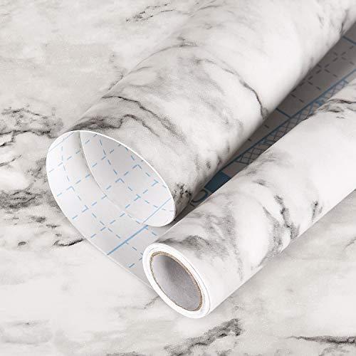 Symoden Marmor-Kontaktpapier, 45 x 299,7 cm, Marmor-Tapete, grau-weiß, Marmor-Tapete, selbstklebend, wasserdicht, abnehmbar, für Möbel, Schränke, Arbeitsplatte, Küche