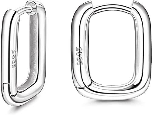 Adramata Pendientes de Aro Huggie de Plata de ley 925 para Mujer Pendientes de Aro Pequeños Chapados en Oro de 18 quilates Pendientes de Aro de U en oro Blanco y oro Amarillo