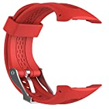 FESKIO - Correa para reloj deportivo Garmin Forerunner 10/Forerunner 15GPS, de silicona suave (tamaño grande/pequeño), L/Men Size, Rojo