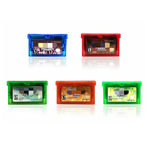 pkmn GBA games, 5-Pack Ruby Sapphire Emerald FireRed LeafGreen, compatible GBA GBA SP NDS NDSL.