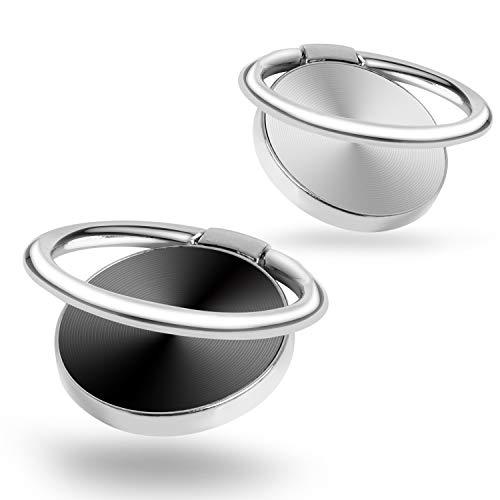 Soporte de anillo dedo,2 unidades de CD con textura magnética universal de metal para smartphone, soporte agarre para iPhone,iPad, Samsung,HTC,Nokia,teléfonos celulares,tableta,color plateado y negro