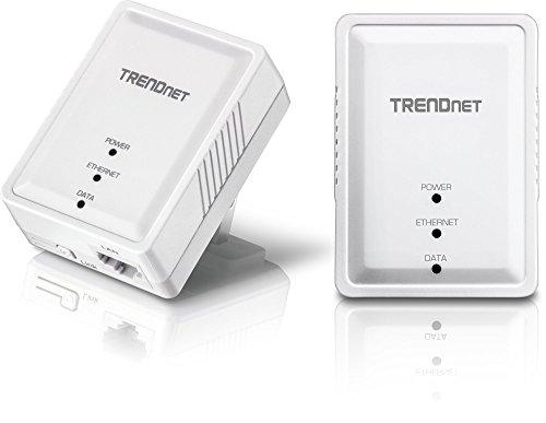 TRENDnet Powerline 500 AV Nano Adapter Kit, TPL-406E2K, Includes 2 x TPL-406E Adapters, Cross Compatible with Powerline 600/500/200,Windows 10, 8.1, 8, 7, Vista, XP, Ethernet Port, Plug & Play Install, White