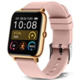 KALINCO Reloj Inteligente Hombre Mujer, Smartwatch con Oxígeno Sanguíneo Presión Arterial Frecuencia Cardíaca Sueño, Reloj Deportivo para Android iOS (Rosa Oro)