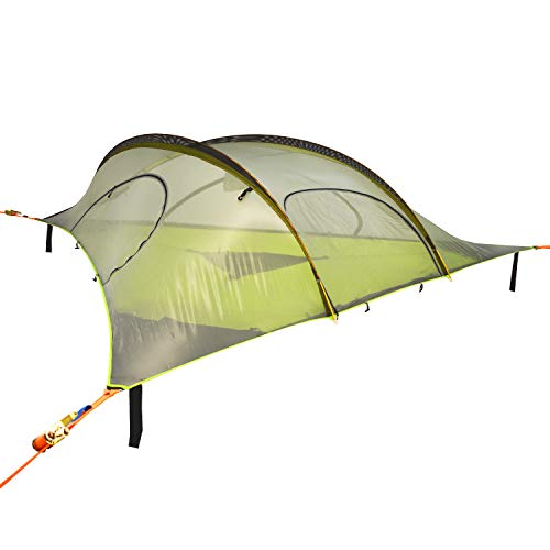 Tentsile Stingray (2020 Model) – 3 Person Portable Tree House Camping and Backpacking Tent – 4 Season, 4 Entry Points, Removable rain Fly, Tear-Resistant mesh – Dark Grey