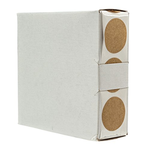 """1"""" Brown Kraft Round Labels / 1,000 Circle Stickers with Dispenser Box/Permanent Adhesive"""